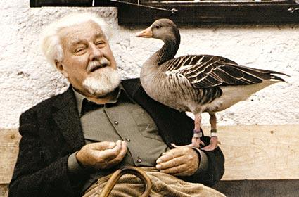 L'etologo Konrad Lorenz con la sua oca Martina